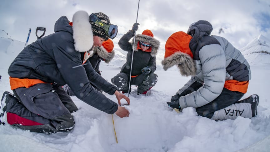 Climate Sentinels team analysing ice on Svalbard. Climate Sentinels is one of the organizations that received donations from Hurtigruten Foundation in 2020. Photo: Climate Sentinels
