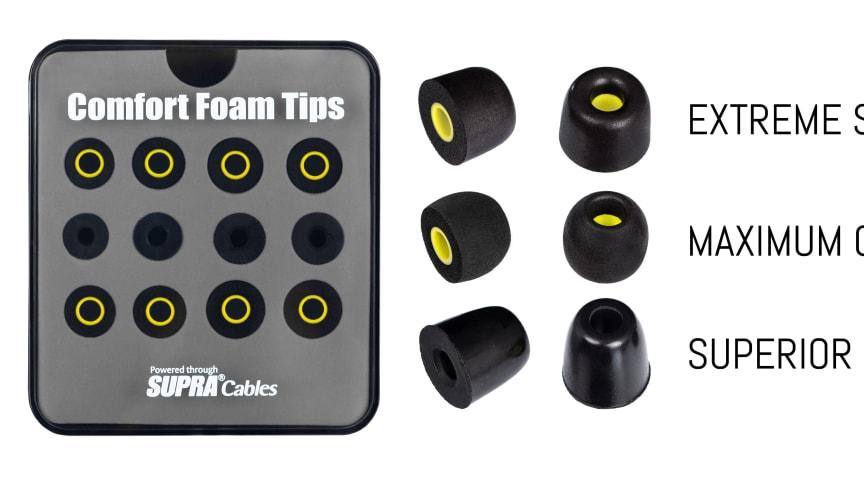 SUPRA Comfort Foam Tips© - Optimal ljudupplevelse