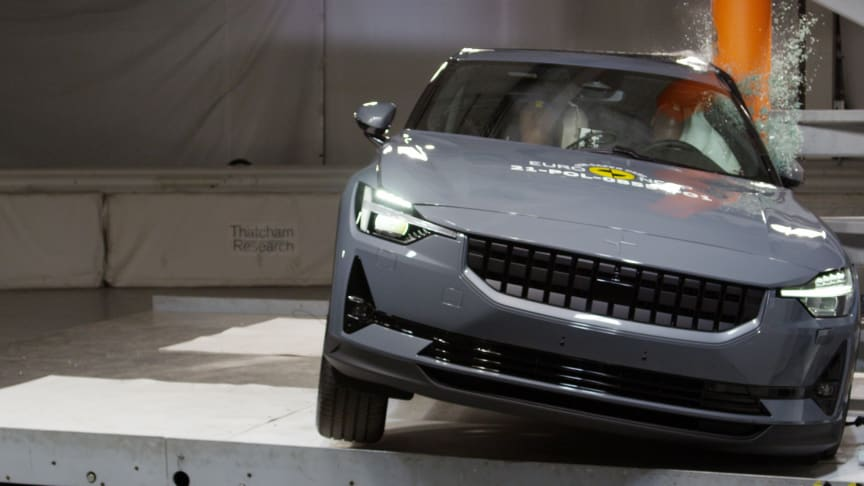 The Polestar 2 undergoes the side pole test at the Thatcham Research safety lab