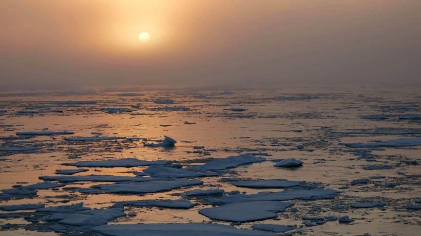 Havsisen i Arktis minskar långsiktigt till följd av global uppvärmning, men mängden is varierar även kraftigt från år till år. En ny studie visar att det framförallt beror på variationer i temperaturen i atmosfären ovanför isen. Foto: Dirk Olonscheck