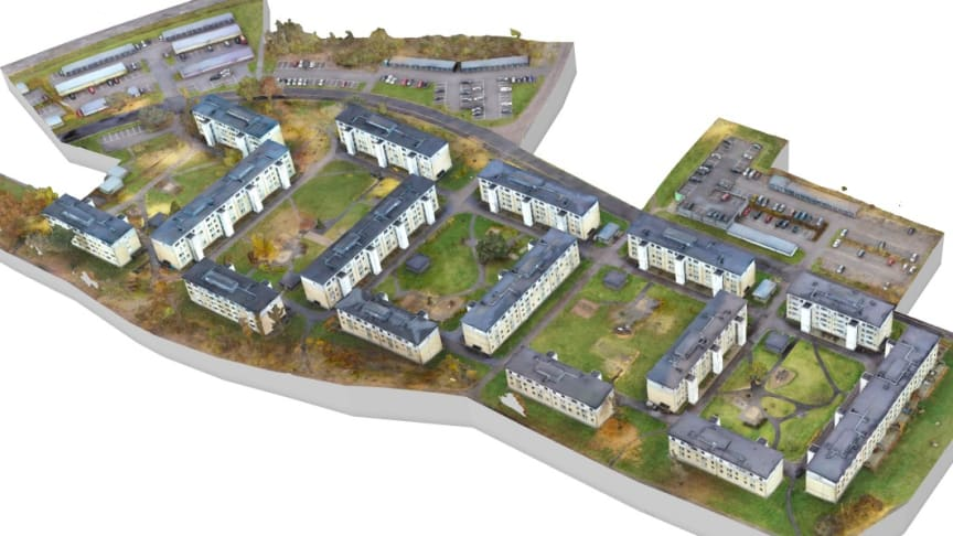 3D-modell över Riksbyggens hyreslägenheter i området Skarpan i Linköping.