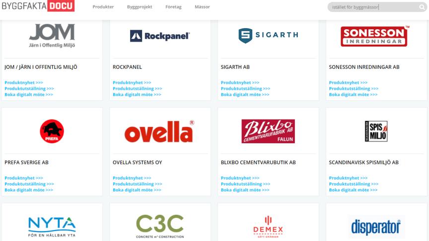 Produktnyheter från olika leverantörer hittar du hos Byggfakta DOCU