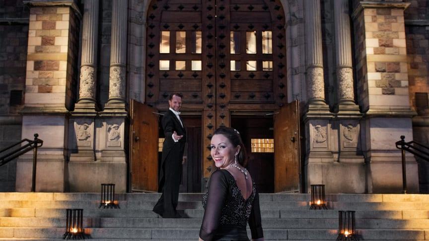 Nyår på Nordiska museet med Tobias Wallin och Helena Fransson från TV4:s Let's Dance. Foto: Peter Segemark/Nordiska museet