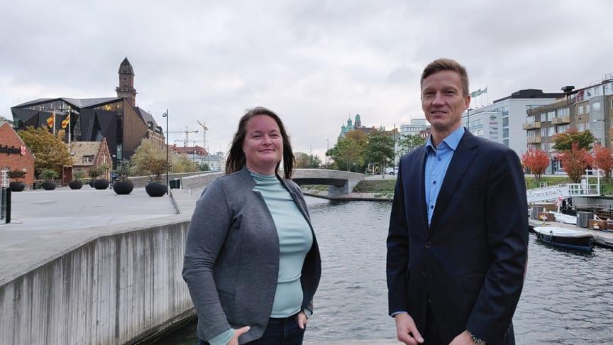 Magdalena Beck, ordförande i VA SYDs förbundstyrelse och Joel Olthed, VA SYDs förbundsdirektör.