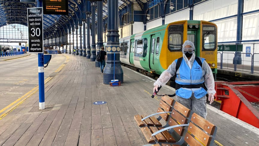 Stations including St Albans, Flitwick, Harlington, Worthing, Hassocks, Oxted, Plumpton and (above) Brighton are being treated with the latest dose of 30-day viruscide to protect passengers