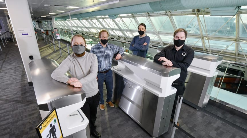 Pictured l-r are Kieran Dougan, Simon Scott-Harden and Howard Fenwick of Northumbria University, and Andrew Sambell of British Engines, with the FLO-SAN hand sanitisation unit at Newcastle Airport
