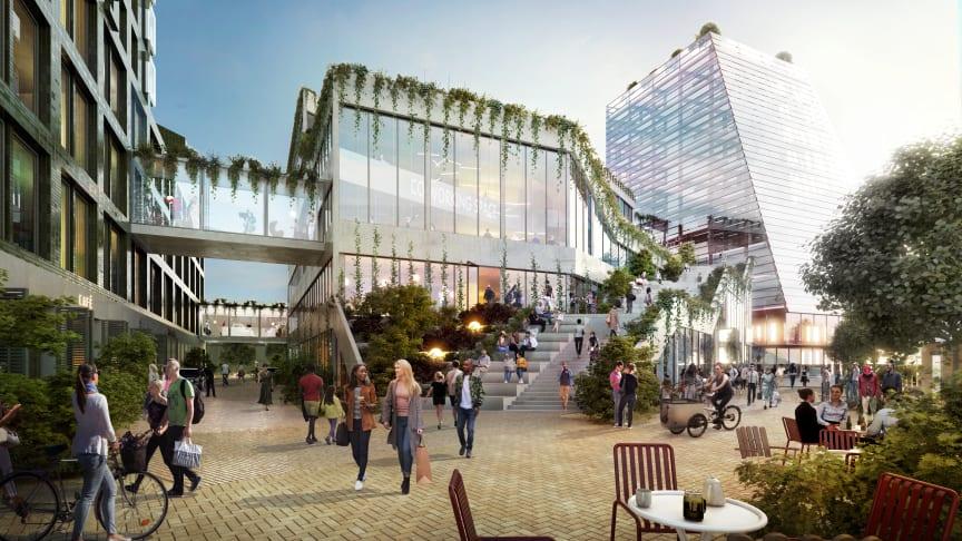 3D bild som visar fastigheterna Drivbänken och Fyrtornet i området Embassy of Sharing