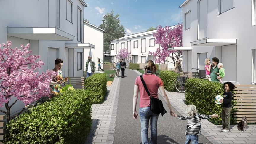 Området Södra Källtorp tar tillvara på det natursköna läget nära Vedboskogen och Wenströmska IP för att uppmuntra till naturnära rekreation. Illustration: Archus Arkitektur.