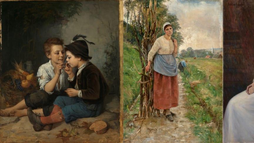 Mathilde Dietrichson «Sigarrøykende gutter»  |  Sigrid Bølling «Fatigué. Bondekone fra Normandie»  |  Kris Laache Torne «Portrett av Lalla Hvalstad»