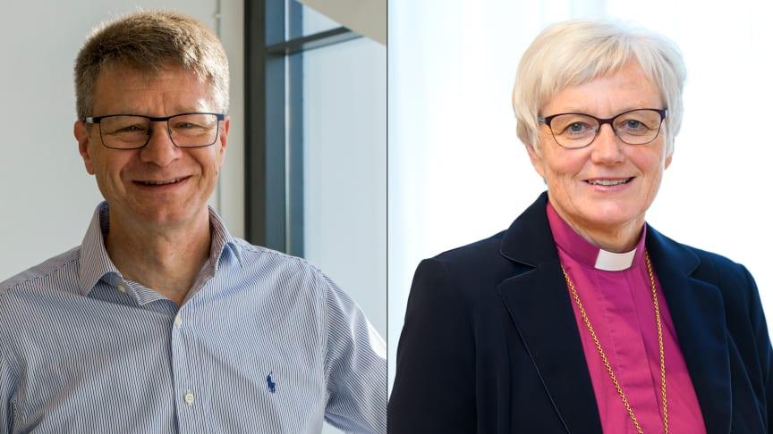 Paul Hemeren, lektor i kognitionsvetenskap, och ärkebiskop Antje Jackelén. Bilden är ett montage. Foto: Högskolan i Skövde, Magnus Aronsson/Ikon.