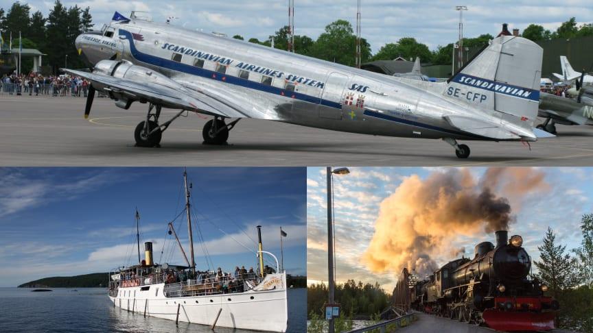 DC3:an Daisy, ångfartyget Trafik och ånglok från Järvägsmuseet i Gävle. Foto: Anders Svensson, Bo Oxenstjärna & Järnvägsmuseet.