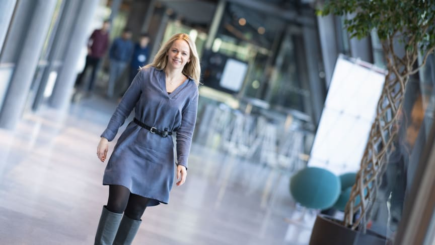 Camilla Amundsen utvider sportstilbudet i T-We. (Foto: Martin Fjellanger/Telenor)