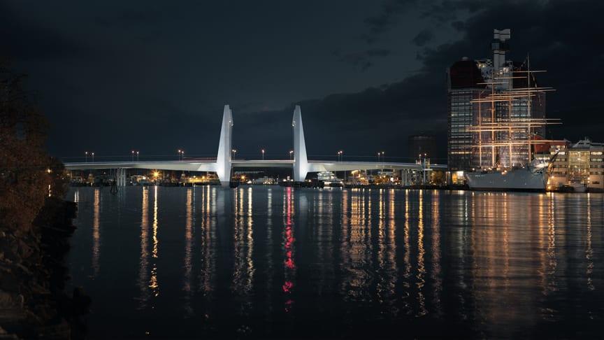 Den nya bron Arpeggio. Ritad av den danska arkitektbyrån Dissing plus Weitling, tillsammans med Elu, Ljusarkitektur och Leonhardt Andrä und Partner. Bild: Dissing plus Weitling