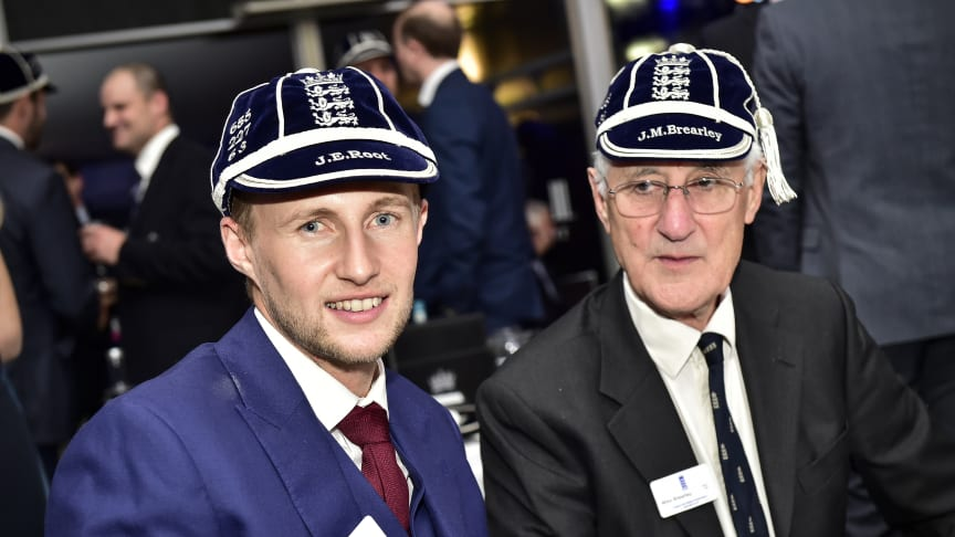 Joe Root and Mike Brearley at the England players dinner last year