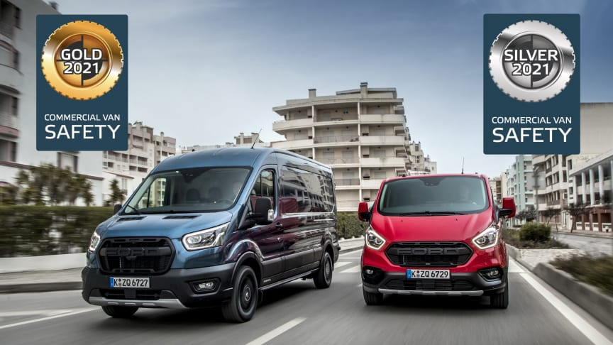 Transit 2T og Transit Custom utmerker seg i Euro NCAP-test av europeiske varebiler