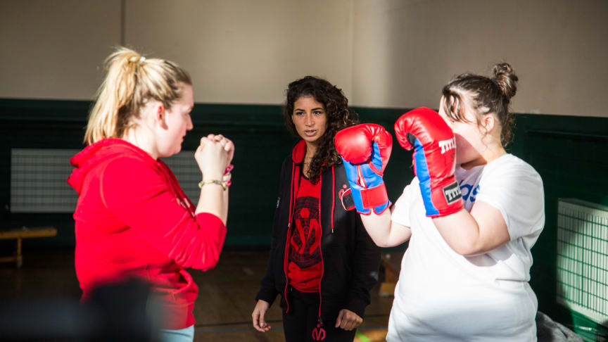 Boxing training at a London community boxing gym