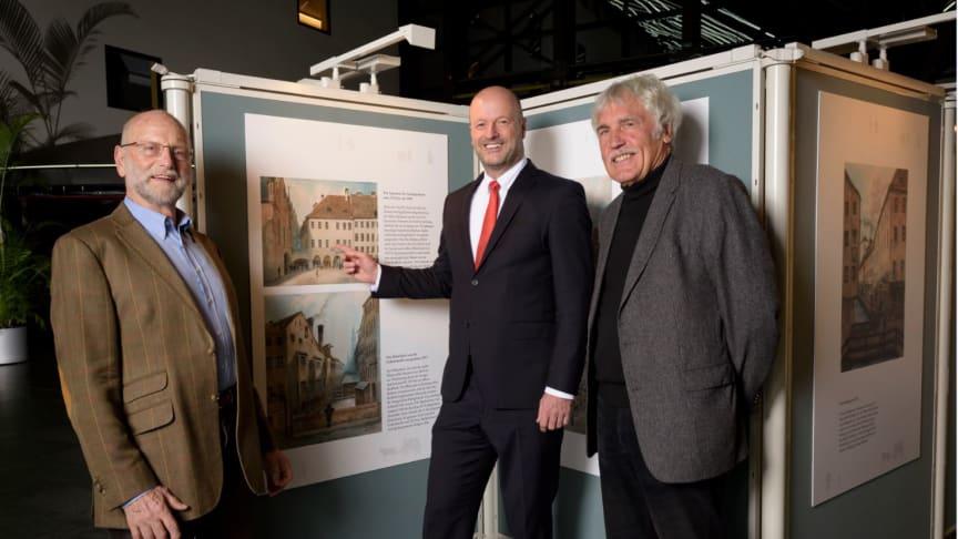 (v.li.) Weinwirt Edmund Neuner, Nachfahre des Auftraggebers der Bilder, Vorstandsvorsitzender Ralf Fleischer und Dr. Richard Bauer bei der Ausstellungseröffnung.