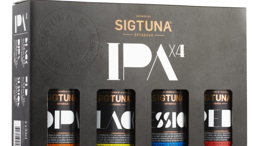 Fyra olika IPA i en box från Sigtuna Brygghus