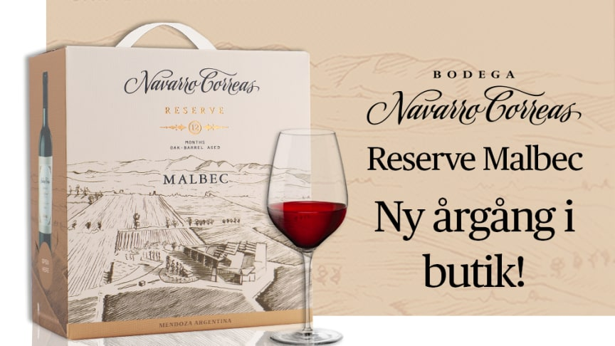 Navarro Correas Reserve Malbec - ny årgång i butik.