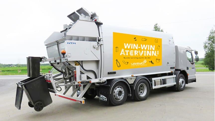 Inga avfallsslag blandas i sopbilen! Varje facks innehåll i sopkärlet hamnar i ett eget fack i sopbilen. Varje avfallsslag tas om hand för sig.