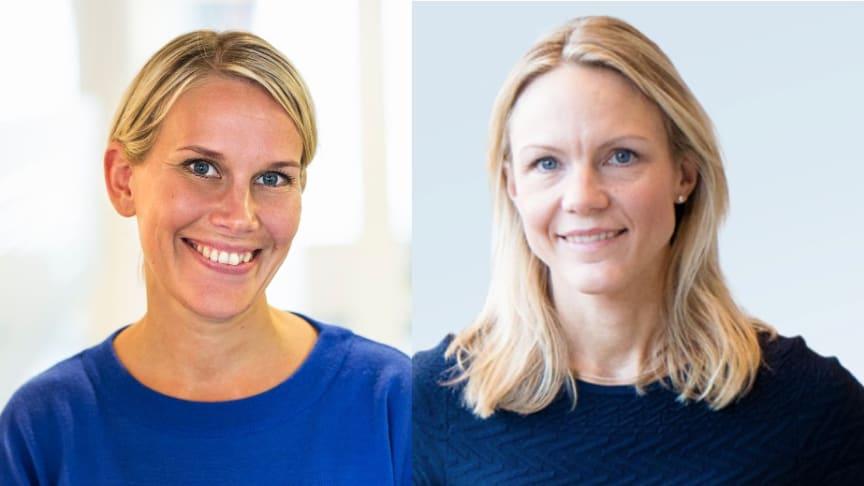 Karolina Brick, tillträdande hållbarhetschef på Riksbyggen och Maria Brogren, chef Hållbarhet och innovation på WSP.