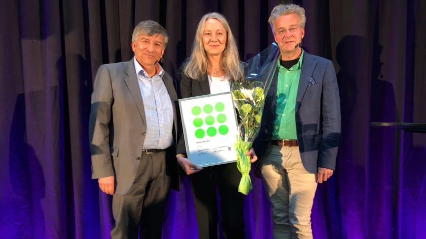Johanna Gavefalk, Marknad och kommunikationschef tog emot servicescore utmärkelsen