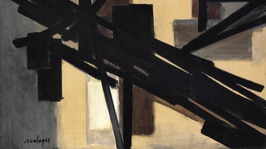 """Pierre Soulages: """"Peinture 59 x 85 cm, septembre 1951"""". Estimation : €805 000 à 1 050 000 (6 à 8 M DKK)"""