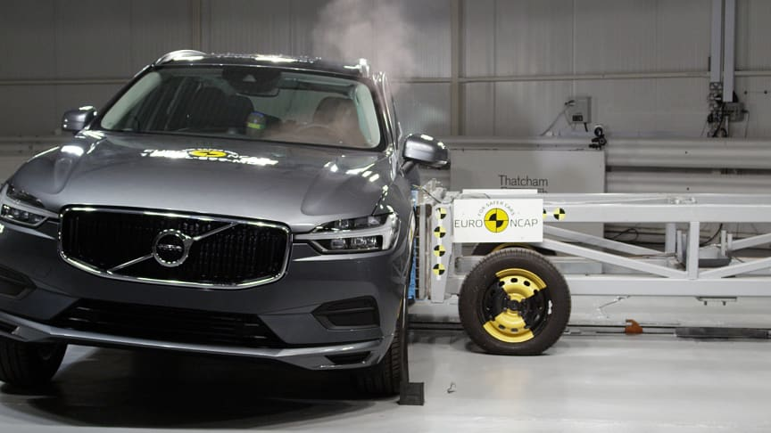 The Volvo XC60 in Euro NCAP's side crash test at Thatcham Research