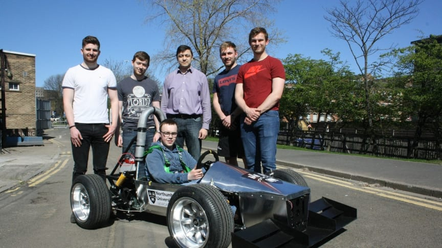 Students from Northumbria's Mechanical, Automotive and Electrical Engineering programmes, with Dr Ulugbek Azimov (centre), Programme Leader in Automotive Engineering.