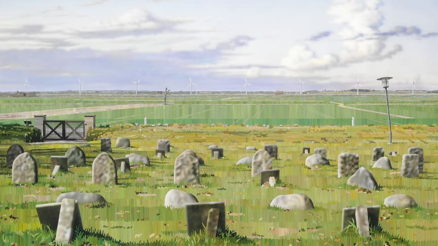"Allan Otte: ""Kødet blev jord"" (And the Meat Turned to Soil), 2010. Signed. Acrylic on board. 100 x 162 cm. Estimate: DKK 100,000-125,000."