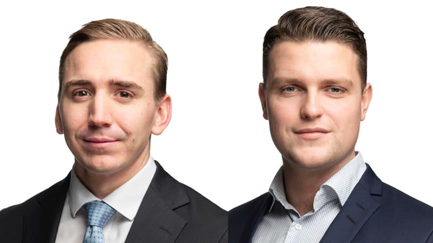Robert Jones (till vänster) och Linus Tillander (till höger) förstärker uthyrningsteamet.
