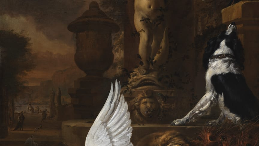 Jan Weenix, Still life with a dead swan, a peacock and a dog next to a fountain, 1684.Photo: Anna Danielsson/Nationalmuseum.
