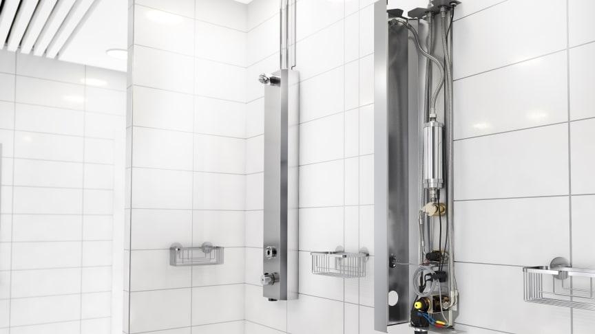 FM Mattssons uppkopplade duschpanneler med vattenreningen Watersprint.
