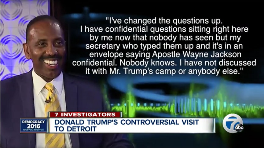 Screen shot from a television report, showing a transcript of Mr Jackson saying he had changed the questions