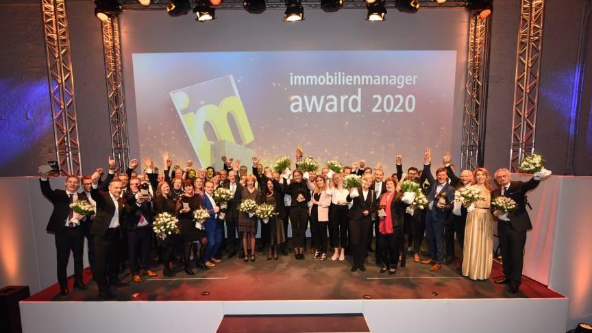 So feiern Sieger:  Die Besten der Besten der Immobilienbranche wurden am 27. Februar in Köln mit dem immobilienmanager-Award 2020 ausgezeichnet. Foto: Axel Schulten
