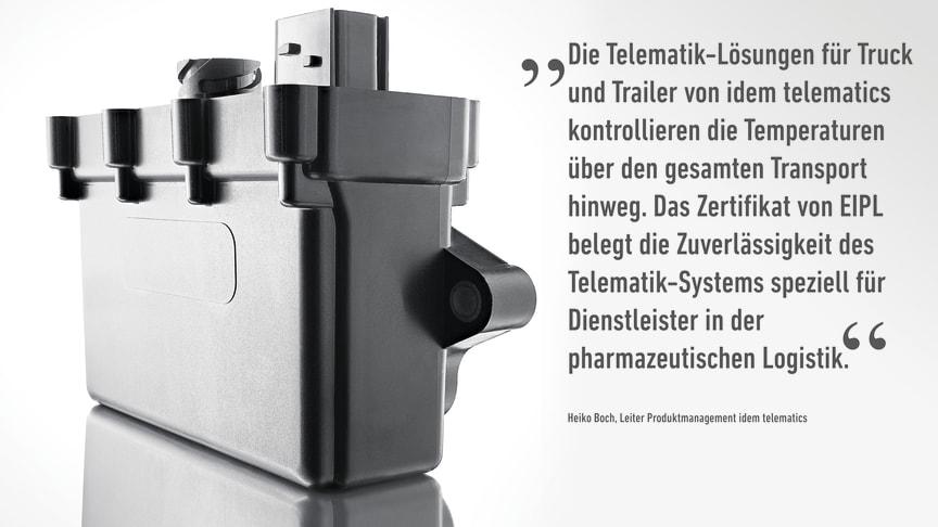 In Kooperation mit der European Institute for Pharma Logistics GmbH (EIPL) werden Telematik-Lösungen von idem telematics direkt beim Einbau für temperaturgeführte Transporte qualifiziert.