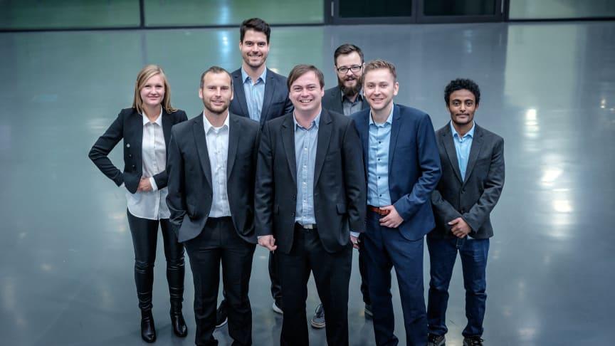 Gründerteam von BIOMES (v.l.): Christin Günther, Carsten Krumbiegel, Jonas Dierenbach, Dr. Paul Hammer, Philipp Franke, Andrej Wackerow und Dr. Tewodros Debebe.