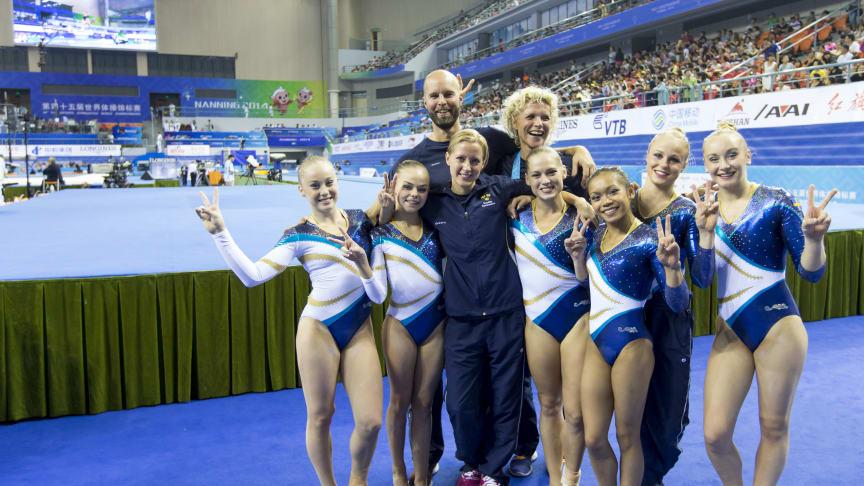 Sveriges VM-lag i kvinnlig artistisk gymnastik klart för VM 2015  - och OS-kval (redigerat)