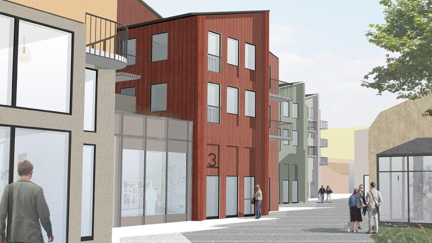 Visionsskiss för det nya kvarteret Hållstugan i Örebros city.