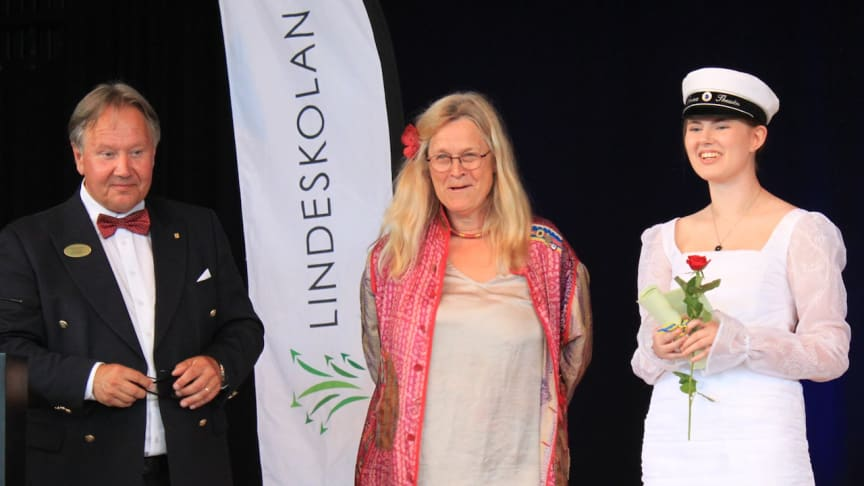 Gymnasiechef Staffan Hörnberg och Kajsa Forsberg (jurymedlem) delar ut kulturpris till Jonna Thessén (TE18) som vann förstapris i kategorin bild.