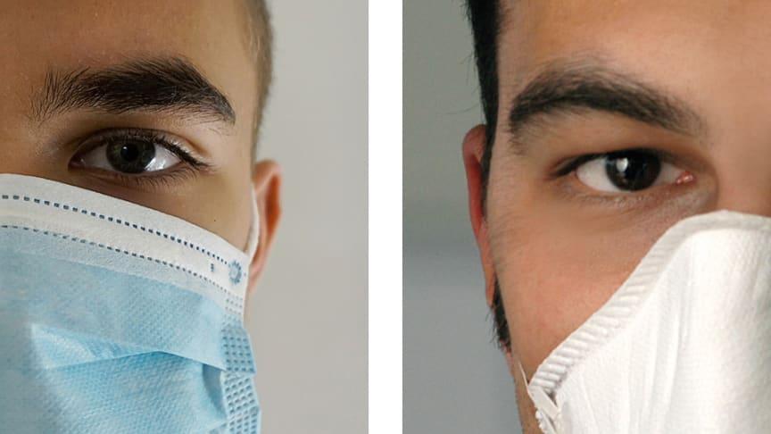Munskydd (blått i vänstra bilden) skyddar inte bäraren som andningsskydd gör (vitt i högra bilden).
