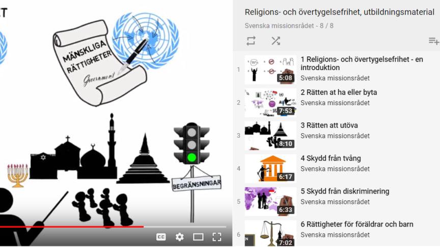 Det första filmpaketet som introducerar grunderna i religions- och övertygelsefriheten finns  på Svenska missionsrådets Youtube-kanal