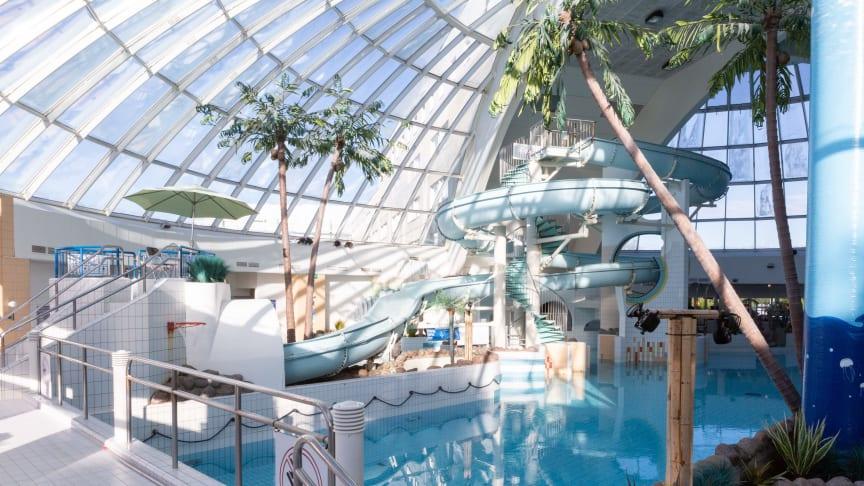Scandic Eden Nokia kylpylässä voi nauttia myös vauhdin hurmasta vesiliukumäissä.