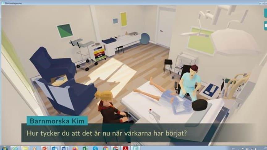 Skärmdump från forskningsprojektet Förlossningsresan