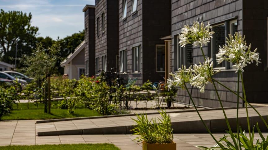 Fastigheterna med skifferfasader finns i Gantofta utanför Helsingborg och är nominerade till Stenpriset 2019.