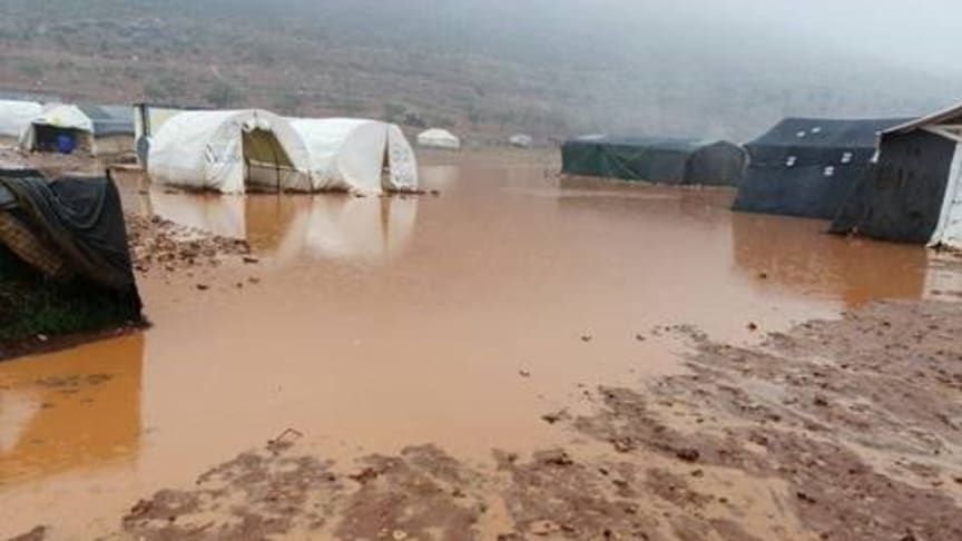 Heavy rainfall has led to flooding in Ein Al-Dair camp in North West Syria.