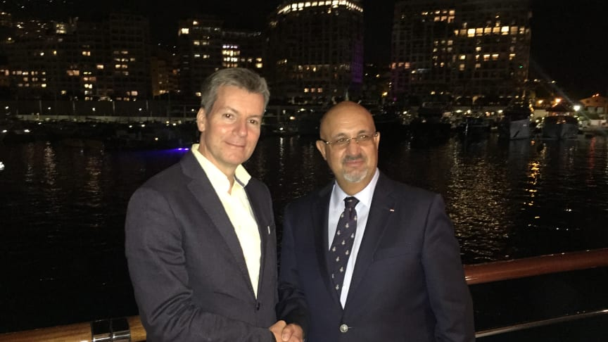 Inmarsat has appointed SSI-Monaco as a reseller of its Fleet Xpress service. Pictured at Monaco Yacht Show are (L-R): Inmarsat's Rob Myers and Dr. Ilhami Aygun, from SSI-Monaco