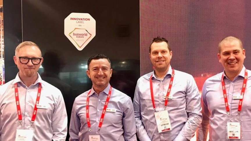 Innovation Label Winner at Busworld 2019. Holger Pfriem, Marcello Sanchez, Fredrik Rosén and Jonas Bergström from Dafo Vehicle Fire Protection.