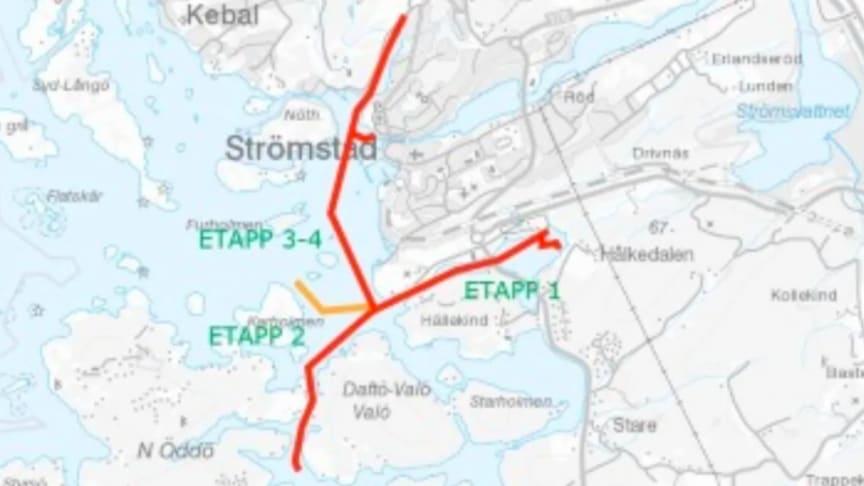 15 km sjöledning och landfästen i Strömstad