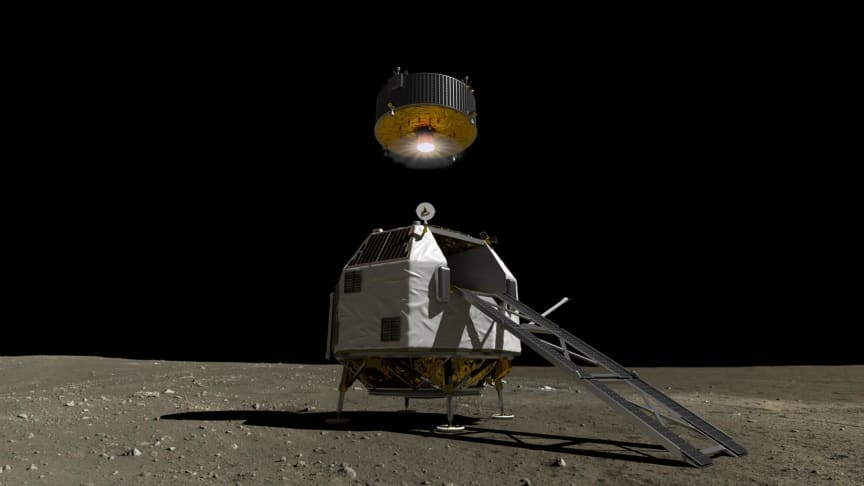 An artist's impression of what a lunar spacecraft, part of the HERACLES mission, could look like. Here, the ascent element seems to be departing. Photo: ESA